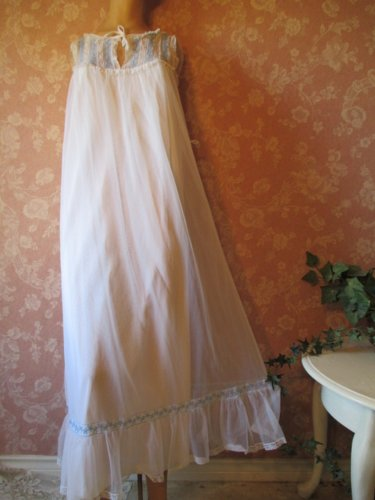 Komar Vintage Nightgown White Chiffon Blue eyelet lace Full Sweep Ruffle Hemline S M