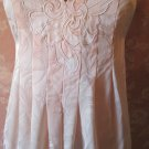 Natori Vintage Nightgown Pink Satin Brocade Box Pleats Applique Bodice Long S M L