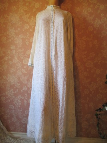 Windsor Vintage Robe All Lace Lined Coat Dress XS S Mandarin Collar Bell Sleeves Boho Hippie