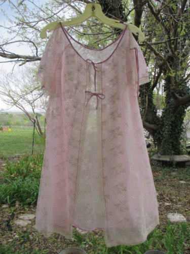 Vintage Chiffon Lace Sheer Peignoir Robe Lilac Cream Lace Short Tent S M Split Flutter Sleeve