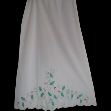 Odette Barsa Matej Vintage Christmas Half Slip Holly Berries Small Med TALL Hand embroidered