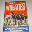 1987 Minnesota Twins Wheaties Box   Free Ship !!!!
