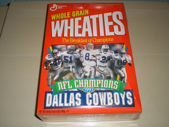 1993 Wheaties Dallas Cowboys NFL Champions Box   Free Ship !!!!