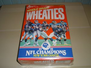 1991 Wheaties New York Giants NFL Champions Box,  Free Ship !!!!
