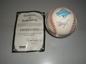 Javier Lopez Autographed Ball. World Series 1995