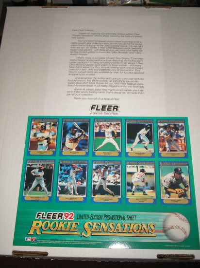 1992 Fleer Rookie Sensations Promo Sheet