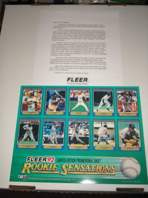 1992 Fleer Rookie Sensations Promo Sheet