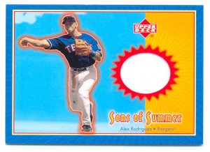 2002 UD Sons Of Summer Alex Rodriguez Game Used Jersey Card