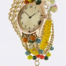COLORFUL BEAD  BRACELET WRAP WATCH