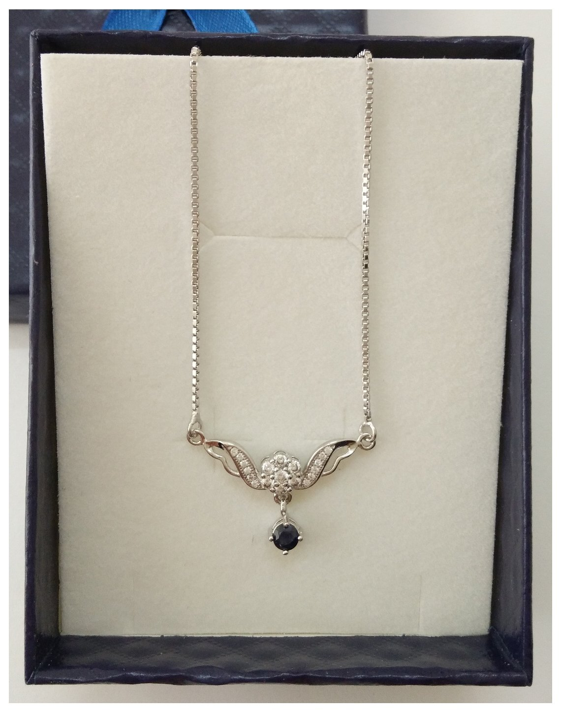 Angel Wings 925 Sterling Silver Necklace With Genuine Blue Sapphire Gemstone