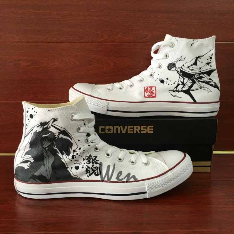 Converse All Star Shoes Gintama Hand Painted Canvas Shoes High Top White Canvas Sneakers Men Women