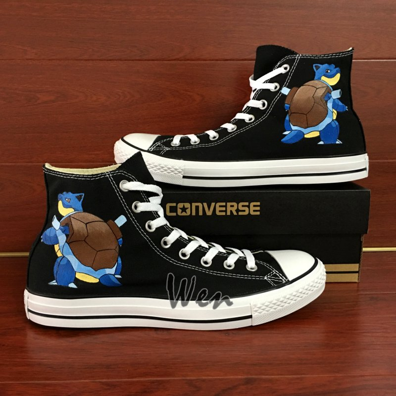 Pokemon Blastoise Converse All Star Shoes Hand Painted Canvas Sneakers High Top Unique Gifts