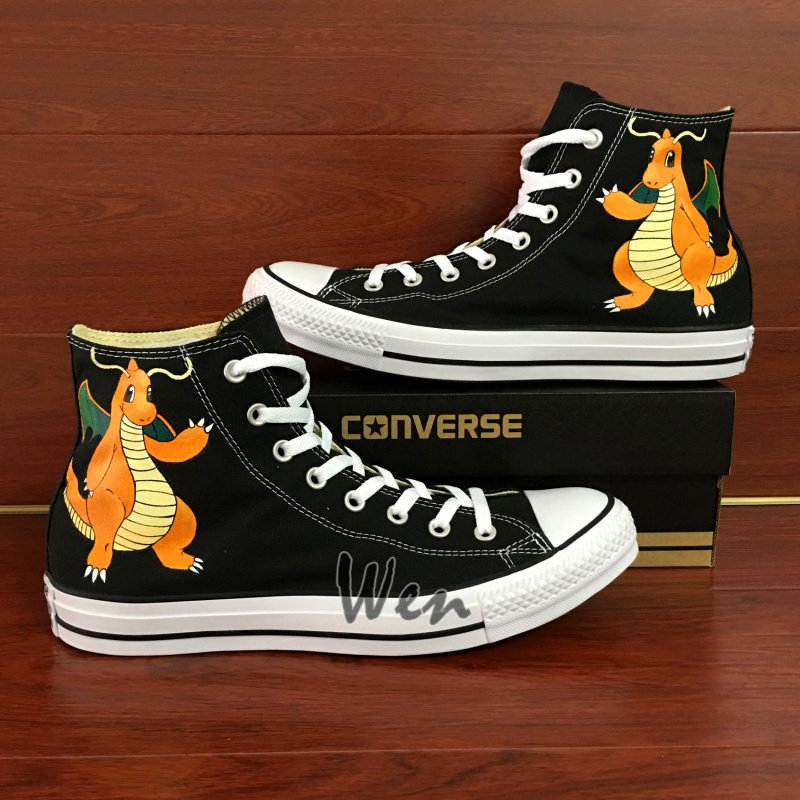 Pokemon Dragonite Converse All Star Shoes Hand Painted Canvas Sneakers High Top Black Shoes Gifts