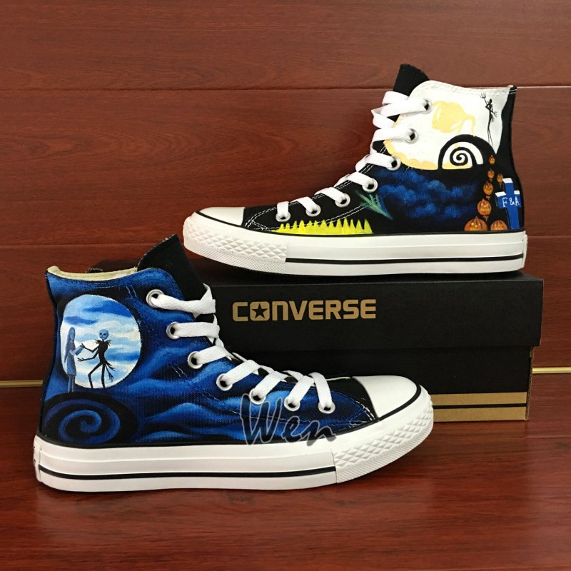 Converse Shoes Nightmare Before Christmas Custom Hand Painted Canvas Sneakers Unique Christmas Gifts
