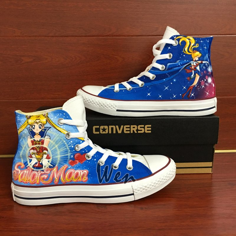 Womens Converse All Star Sailor Moon Hand Painted Shoes Fashion Canvas Sneakers Unique Gifts