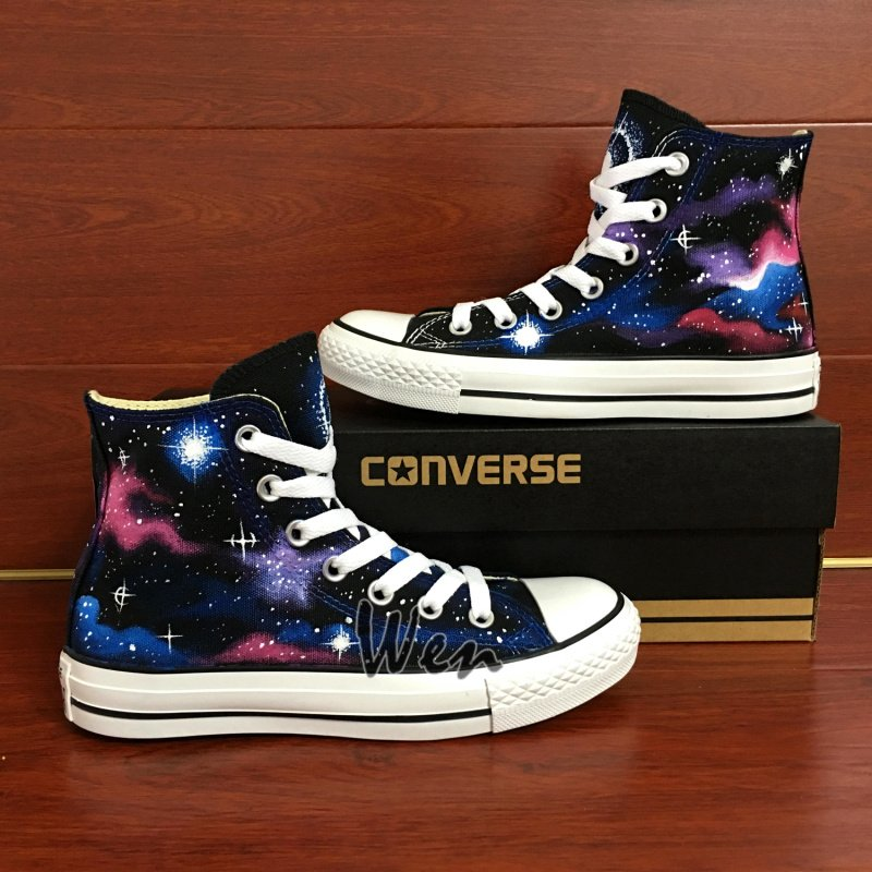 Custom Converse Shoes Galaxy Stars Hand Painted Shoes High Top Canvas Sneakers Unique Gifts