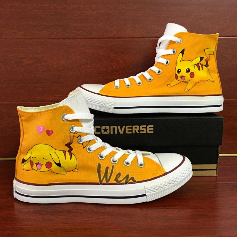 Pokemon Pikachu Converse All Star Custom Hand Painted Shoes Fashion Canvas Sneakers Gifts