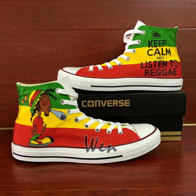 Unique Gifts Men Women Reggae Converse Custom Design Hand Painted Shoes Personalized Canvas Shoes