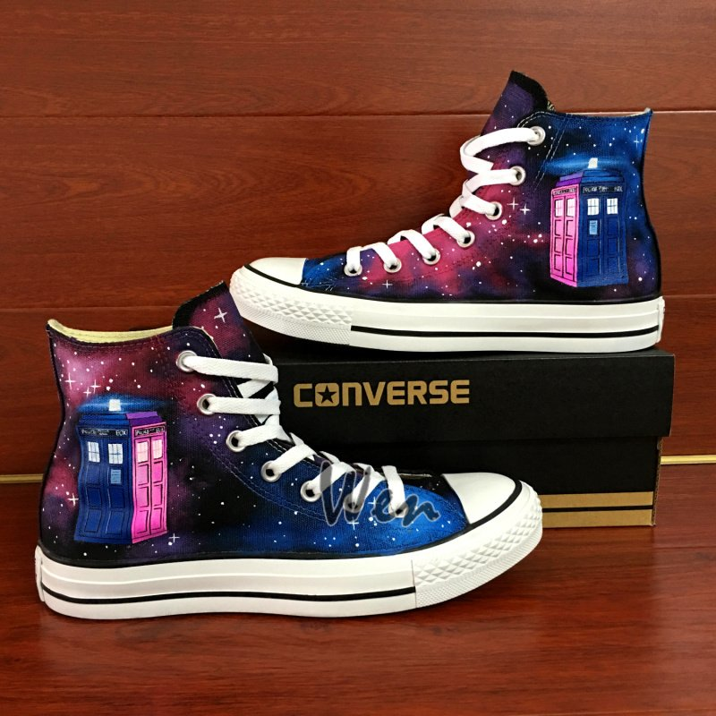 Custom Converse Shoes Tardis Doctor Who Purple Galaxy Hand Painted Canvas Sneakers Gifts