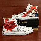 Custom Hand Painted Converse Shoes Anime Black Butler Grell High Top White Canvas Sneakers Gifts