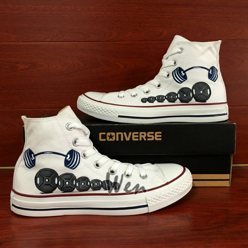 61113c8fb436 Personalized Shoes Hand Painted Converse All Star Barbell Weightlifting  High Top Canvas Sneakers