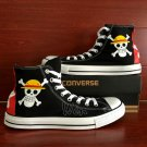 Converse All Star One Piece Jolly Roger Hand Painted Shoes Black Canvas Sneakers Men Women Gifts