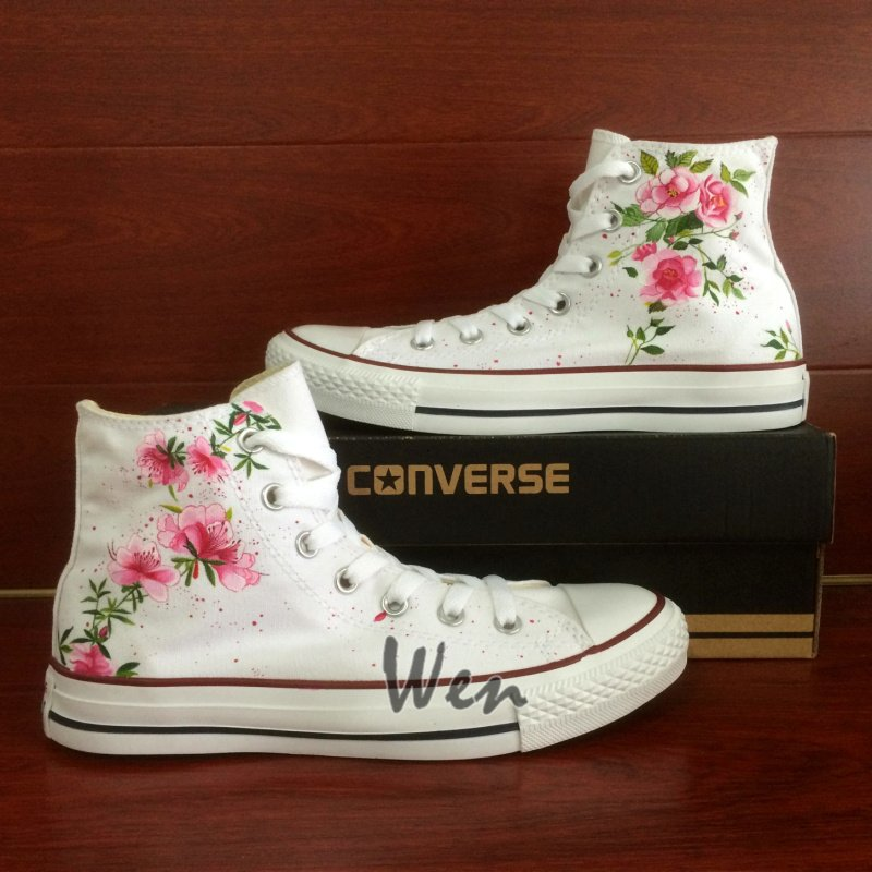 7b1316fbfc8d Floral Shoes Custom Converse Original Design Hand Painted Shoes White  Canvas Sneakers Gifts