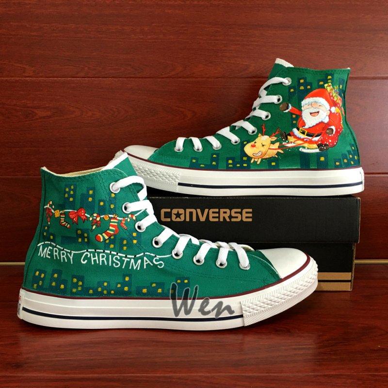 Christmas Theme Shoes Converse Santa Claus Hand Painted Canvas Sneakers Unique Gifts Men Women