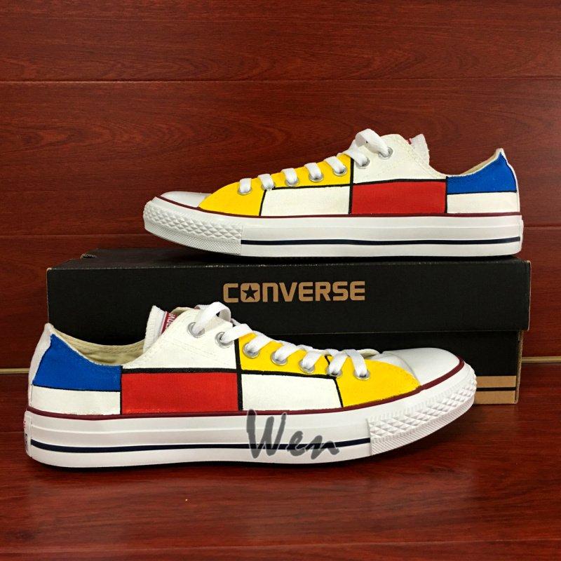 Plaid Low Top Converse Shoes Custom Design Hand Painted Shoes Unique Canvas Sneakers Presents