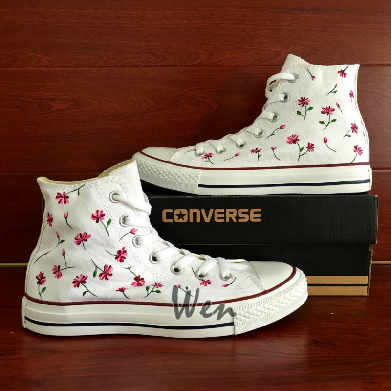 44ed30c88056 Floral Hand Painted Converse All Star Shoes Men Women Personalized  Christmas Gifts Canvas Sneakers