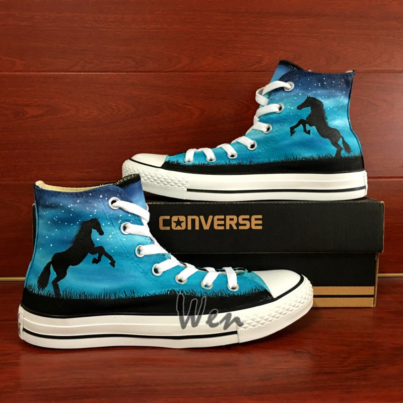d36564ae7478 Unique Canvas Sneakers Horse Night Sky Converse All Star Hand Painted  Canvas Shoes Birthday Gifts