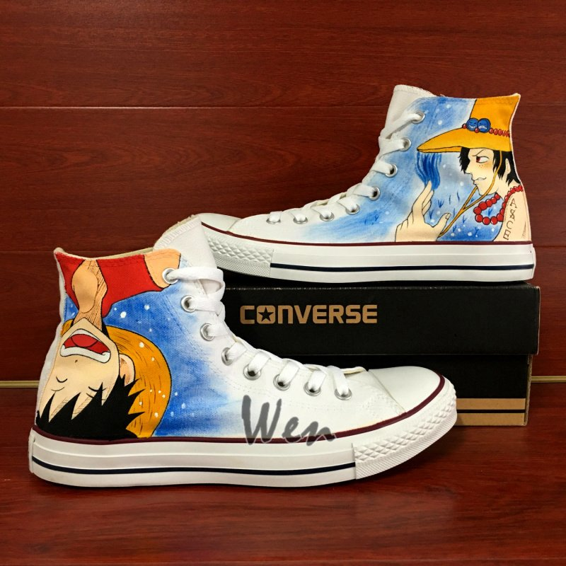 80830600de2e Anime Shoes Converse Chuck Taylor One Piece Luffy Ace High Top Hand Painted  Canvas Sneakers Gifts