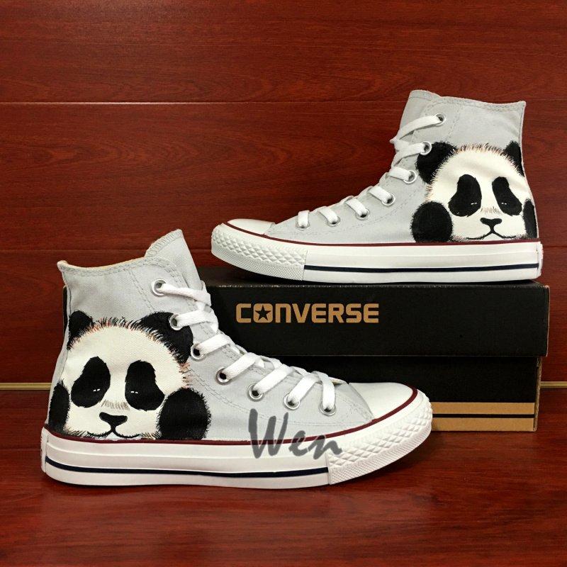 0e0892cdac25ee Custom Shoes Converse Cute Panda Hand Painted Shoes Unique Canvas Sneakers Men  Women Gifts