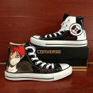 Naruto Gaara Hand Painted Converse Shoes Unique High Top Black Canvas Sneakers Men Women Gifts