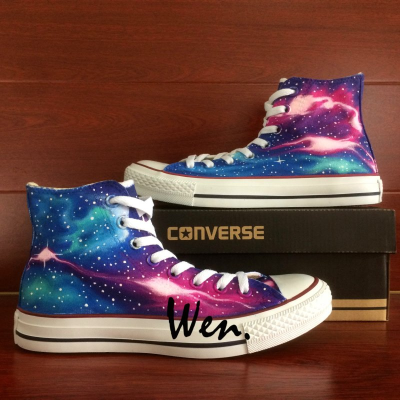 c3e7f55ff7c6 Men Women High Top Converse Sneakers Galaxy Nebula Hand Painted Shoes  Fashion Canvas Sneakers