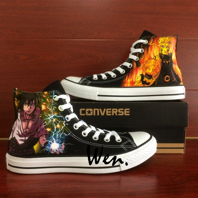 Fighting Naruto Sasuke Converse All Star Hand Painted Shoes Unique Canvas Sneakers Men Women