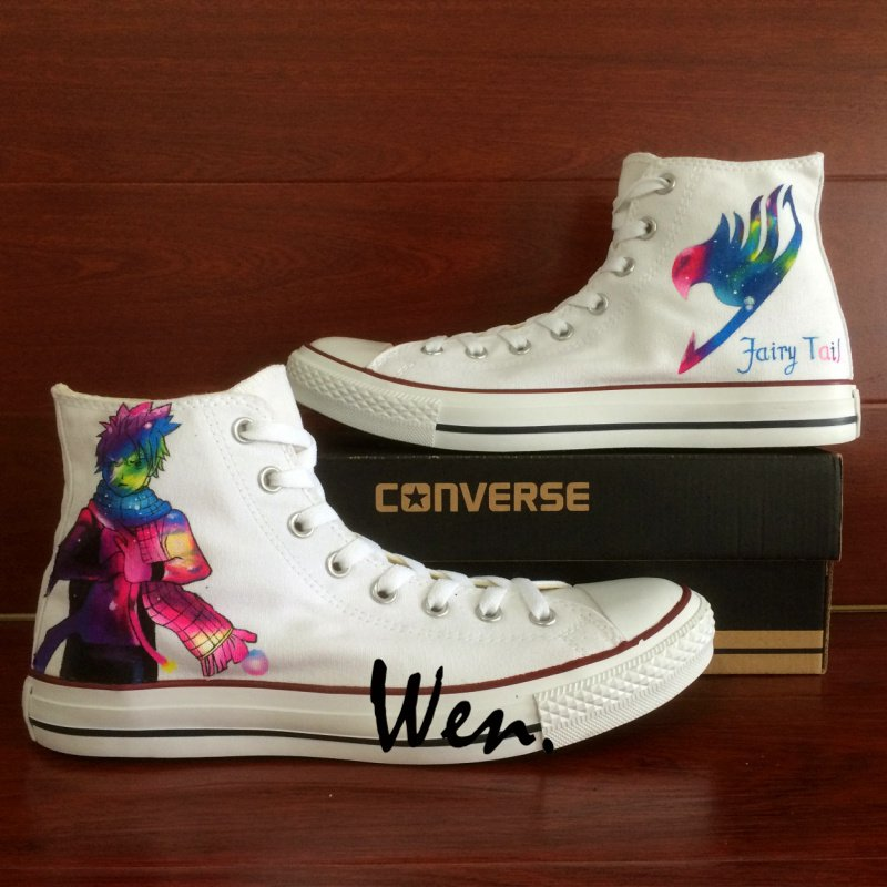 Fairy Tail Natsu White Converse Shoes Hand Painted Canvas Sneakers Men Women Unique Casual Shoes