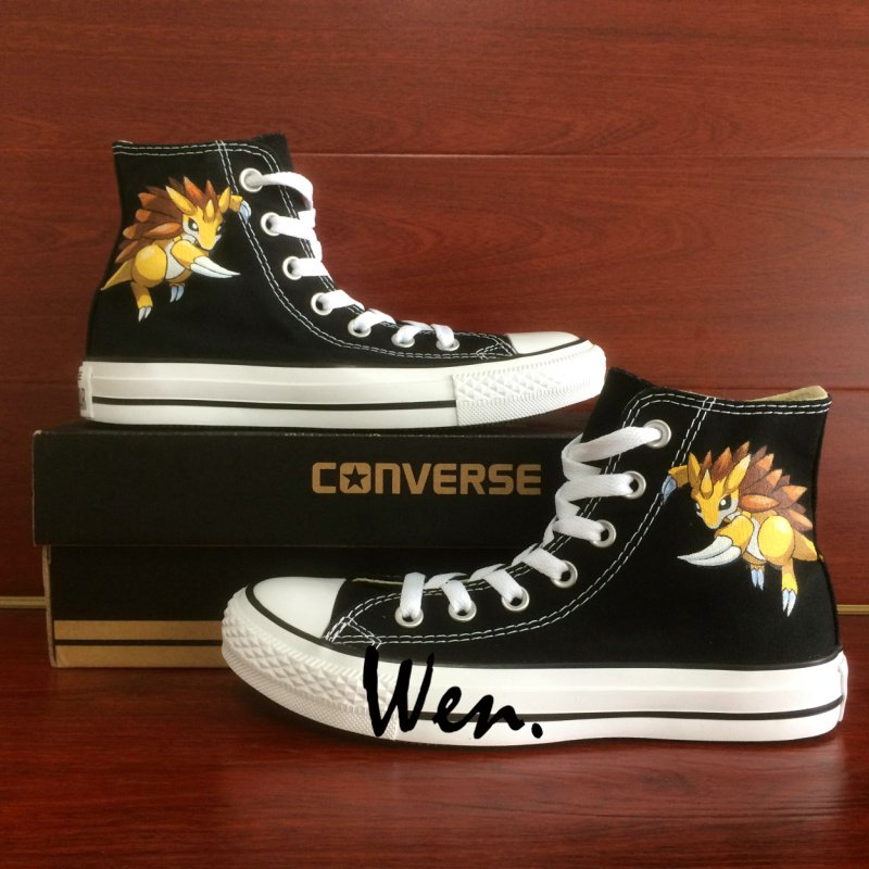 Pokemon Shoes Converse Sandslash Hand Painted Shoes Black High Top Canvas Sneakers Gifts