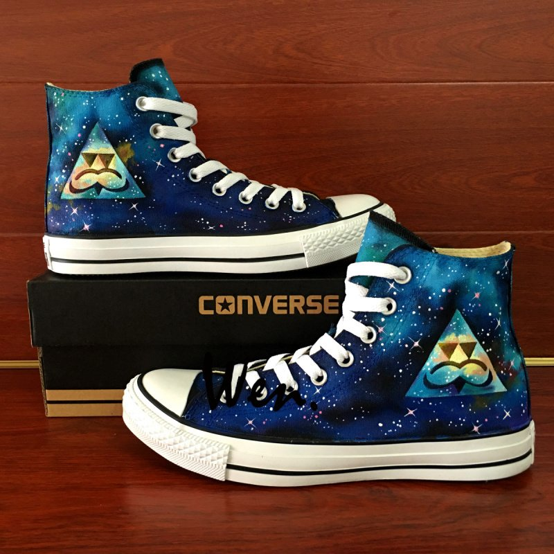 Harajuku Triangle Galaxy Hand Painted Shoes Converse Chuck Taylor Men Wonen High Top Canvas Shoes
