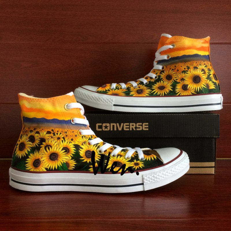 Unique Gifts Sunflower Converse All Star Men Wonen Hand Painted Shoes High Top Canvas Sneakers