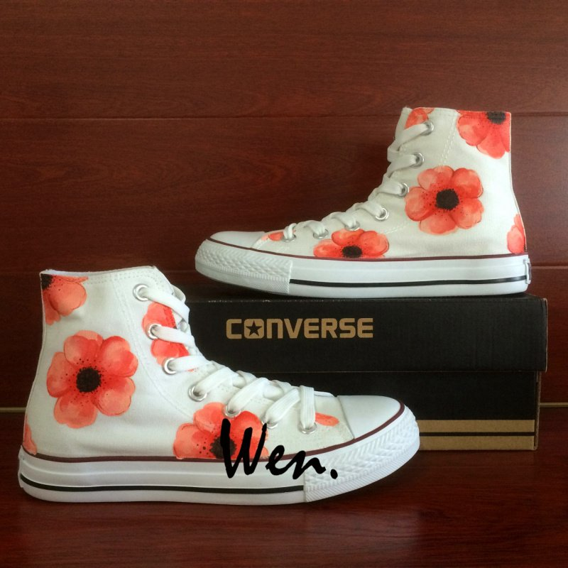 15bfeec9e192 Women s Gifts Hand Painted Shoes Pink Floral Converse All Star High Top  Fashion Canvas Sneakers