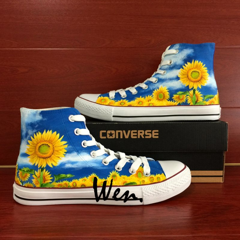 Sunflower Blue Sky Hand Painted Shoes Converse Chuck Taylor Men Women Fashion Canvas Sneakers