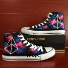 Harajuku Custom Design Hand Painted Shoes Geometric Figure Galaxy High Top Canvas Shoes Gifts