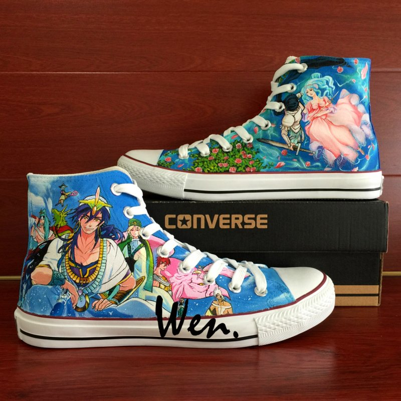 Anime Shoes MAGI Hand Painted Converse Sneakers Men Women Unique High Top Canvas Sneakers Gifts