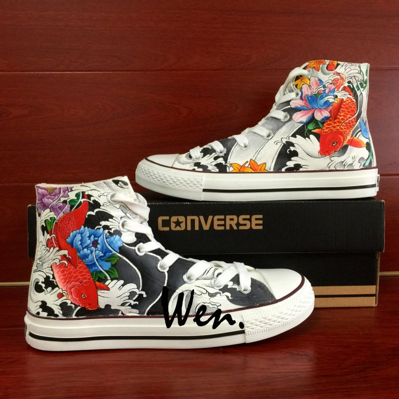 Custom Converse Chuck Taylor Fish Tattoo Hand Painted Shoes Unique Canvas Sneakers Men Women