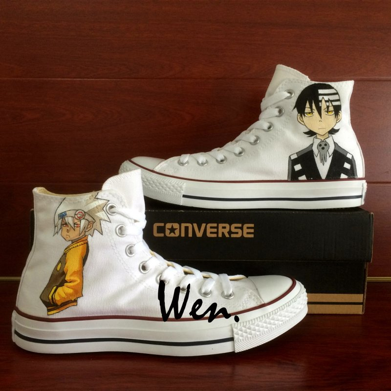 High Top Anime Converse Shoes Soul Eater Custom Hand Painted White Canvas Sneakers Birthday Gifts