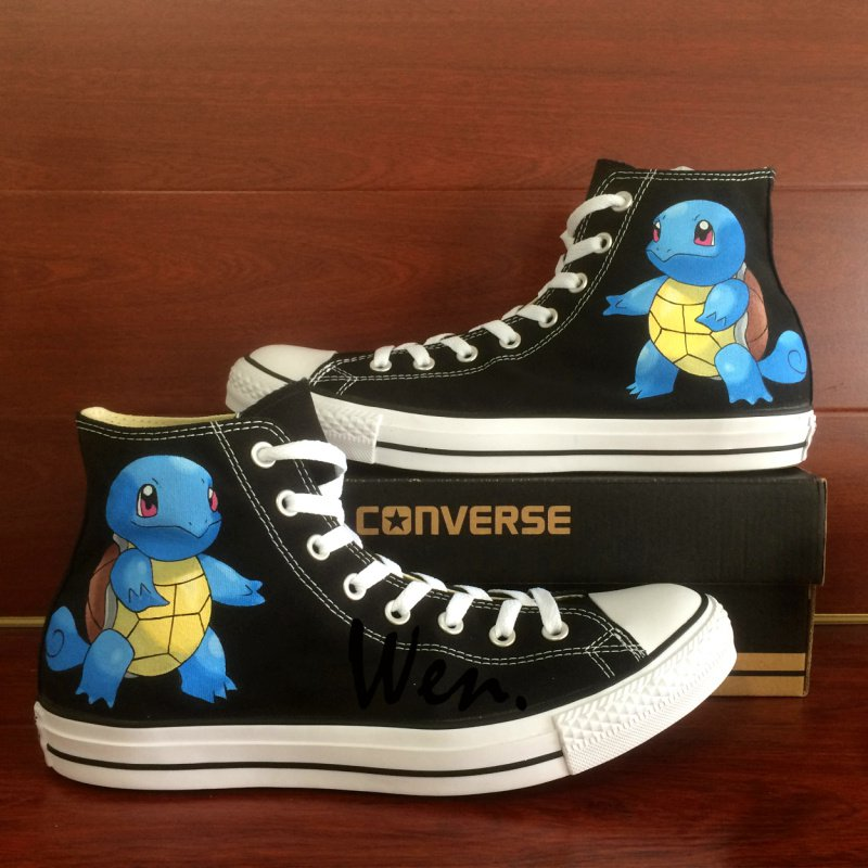 Squirtle Black Converse All Star Pokemon Hand Painted Shoes Fashion Canvas Sneakers gifts