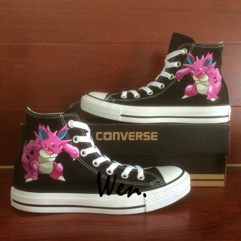 Pokemon Converse All Star Nidoking Hand Painted Shoes High Top Black Canvas Sneakers Gifts