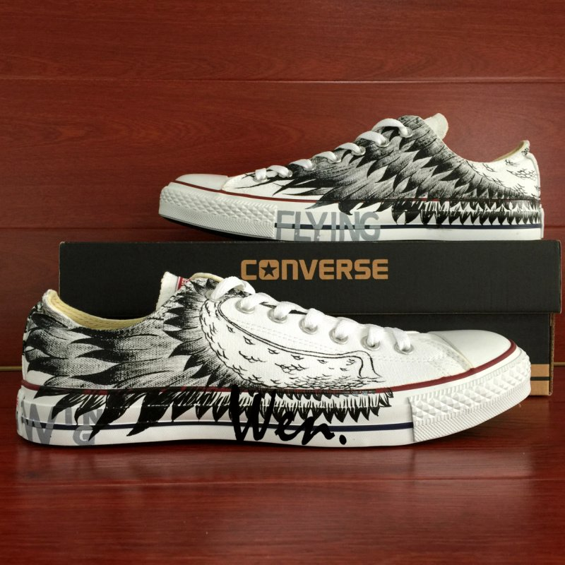 Original Design Converse Wing Hand Painted Shoes Low Top White All Star Canvas Sneakers