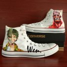 Men Women Anime Converse All Star Attack on Titan Hand Painted Shoes Unique White Canvas Sneakers